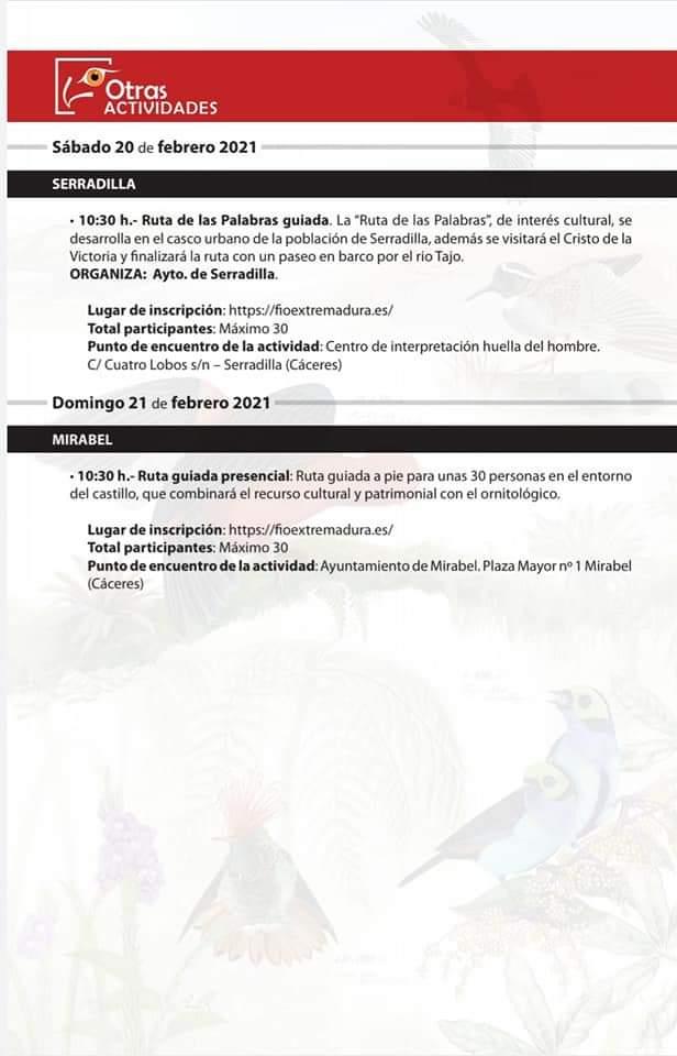 Actividades en Serradilla y Mirabel